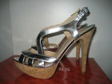 Guess Silver Platform High Heel Shoes Stilettos Sz 8 WG Aleena-M NWB