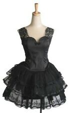 Princess Lolita Gothic Punk Dolly Visual Kei Lace Appliqué Top + Tulle Skirt SET