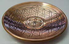 FLOWER OF LIFE COPPER PLATE ENGRAVED BOWL Wicca Witch Pagan SACRED GEOMETRY