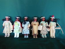 Lot of 6 Carlson Native American Indian Dolls w/ Beads / Leather & Original Tags