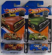 X4- 2011 HOT WHEELS HEAT FLEET '56 FORD F-100 MOC COLOR VARIATIONS