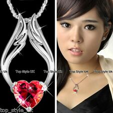ANGEL HEART & WINGS RED CRYSTAL NECKLACE VALENTINE LOVE GIFT WIFE GIRL FRIEND  3