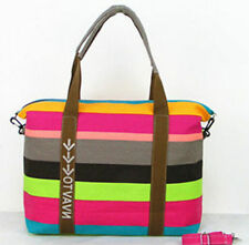 Pink Green Striped Nautical Canvas Large Tote Beach Bag Shoulder Summer shopping
