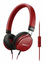 Philips Fixie SHL5305RD On Ear Stereo Headphones with Mic - Red