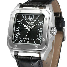 JARAGAR Luxury Dress Square Automatic Mechanical Men's Leather Band Wrist Watch
