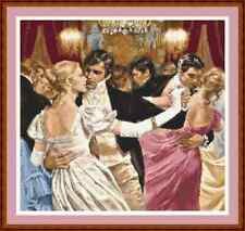 "'ROMANTIC BALLROOM DANCERS' Cross Stitch Chart/Pattern (13½""x10½"") Victorian"