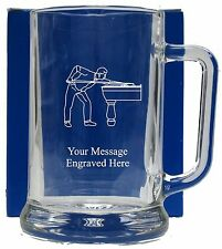 Personalised Snooker Pool Beer Glass  Pint Tankard Free Gift Box GT8