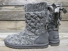 UGG Australia Womens Isla Heather Grey Lace Up Classic Cardy Boots US 7 NEW!