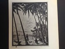 1930s Woodcut print Sunset at Ceylon by T F Simon