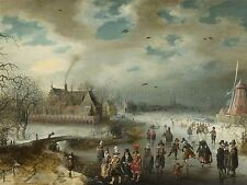 Adam van Breen néerlandais patinage congelés rivière Amstel vieille peinture imprimer bb4738a