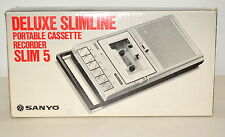 SANYO Deluxe Slimline Portable Cassette Recorder SLIM 5 w/ Cord Instructions Box