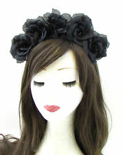 Large Black Sugar Skull Flower Hair Crown Headband Rose Halloween Big Goth 700