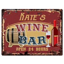 PWWB0464 KATE'S WINE BAR OPEN 24Hr Rustic Tin Chic Sign Home Decor Gift