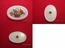"""Czech Glass Basket of 4 Different Color Flowers on a White Button-1.496""""x1.044"""""""