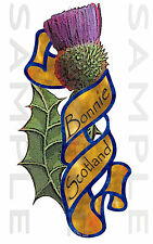 Medium Left hand Bonnie Scotland Thistle Scroll Sticker Car Truck Van Bike Boat