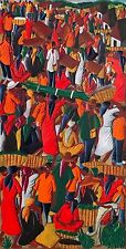 """""""Crowded Market"""" by Laurent Casimir - c.1965 - Haitian Painting - 12 in x 24 in"""
