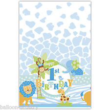 "54""x84"" Wild Safari Blue Boy's 1st Birthday Party Disposable Plastic Table Cover"