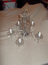 Vintage 30's 40's Waterford Style Crystal 5 Arm Chandelier With Cut Prism Drops