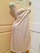Vintage Just My Size Sissy Soft Nylon Lace Sexy Pin-Up Full Beige Slip 44 XX