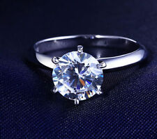 2 CT ROUND CUT DIAMOND SOLITAIRE ENGAGEMENT RING 18K WHITE GOLD ENHANCED 4.5