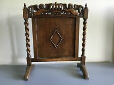 Antique English Oak Jacobean Barley Twist  Fireplace Screen With Angels/Cupids