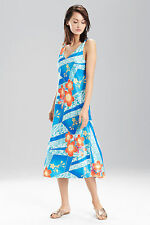 NWT N Natori Blue Note MIKOTO Floral Satin CHARMEUSE Nightgown Gown S $58 Gold