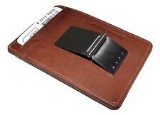 NEW ITALIA LEATHER MEN'S RFID PROTECTED FRONT POCKET MONEY CLIP ID WALLET BROWN