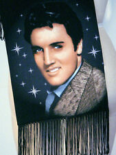 Elvis Presley 1950's Photo Portrait Printed Glam Black Satin Scarf with Fringe!