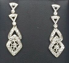 18K White Gold .25 CTW Diamond Cluster Swirl Loop Drop Dangle Earrings