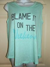 New Juniors size Large 11-13 Blame It On The Weekend Sleeveless T-Shirt tank top