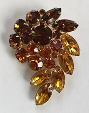 Vintage Weiss 3 Tone Rhinestone Brooch Pin Brown Amber Yellow