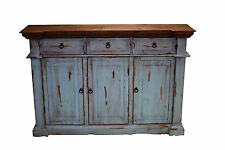 Rustic Turquoise Sofa Entry Table TV Stand Console Real Wood Slim