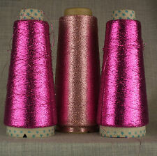 3 CONE CERISE & LIGHT PINK LUREX METALLIC GLITTER YARN MACHINE KNIT SPARKLE FINE