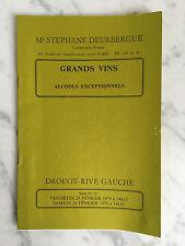 Catalogue de vente Grands vins Alcools Exceptionnels Drout rive Gauche 1979