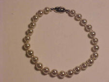 Monet Glass Pearl Bracelet Tennis Bracelet 6mm Glass Pearls 7-3/4""