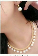 Gold Plated Diamonds Pearls Necklace Earrings Party Ethnic Fashion Jewellery Set