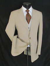 Outstanding Vintage 3 Piece Beige Two Buttons Pants Flat Front Men Suit 38 L