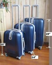 "NWT NAVY BLUE ABS HARDCASE SPINNER SUITCASE LUGGAGE UPRIGHT 20""24""28"" 3PCS/SET"