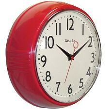 Clock Vintage Retro Classic 50s Red Decor Wall Convex Glass Lens Kitchen Home