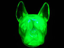 Green Vaseline uranium glass Boston Terrier / french bulldog candy container dog