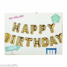GOLD HAPPY BIRTHDAY FOIL PARTY BALLOONS BANNER KIT AIR FILLED NO HELIUM REQUIRED