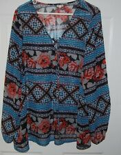 EYESHADOW Blouse BOHO Tunic Top Plus Sz 2X Semi Sheer Looks New