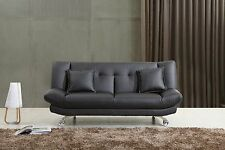 Black Leather Sofa Bed Only £179, 2 Free Cushions, FREE DELIVERY