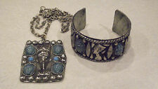 Vintage Egyptian Revival Nerfertiti Scarab Cuff Bracelet & Pendant Necklace Set