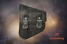 LaRosa All Softail Models Rustic Black Left Side Saddle Bag w Cross Lace