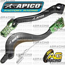 Apico Black Green Rear Brake & Gear Pedal Lever For Kawasaki KX 450F 2006-2008