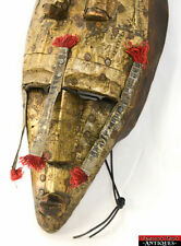 Unique Vintage Wood / Brass Bamana – Marka African Tribal Art Mask from Mali L5Z