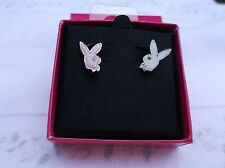 BRAND NEW GENUINE SMALL PLATINUM PLAYBOY PINK AND WHITE BUNNY HEAD STUDS