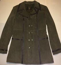 GUESS WOMENS GENUINE LEATHER JACKET OLIVE GREEN QUILTED COAT SIZE S RARE