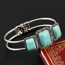 Retro Women Silver Plated Multi-layer Turquoise Bead Bangle Charm Bracelet Gift